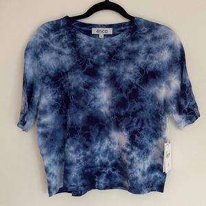 Etica Blue Tie Dye Crop Tee Shirt